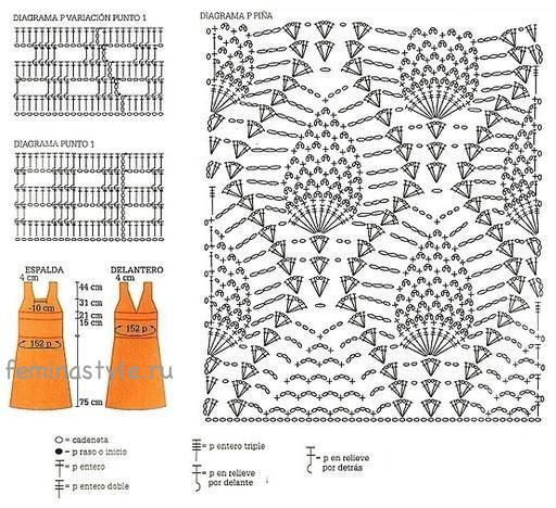 Вязание крючком узор ананас описание схема