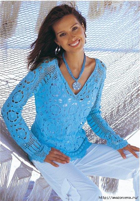 Летний пуловер крючком (1) (448x640, 220Kb)