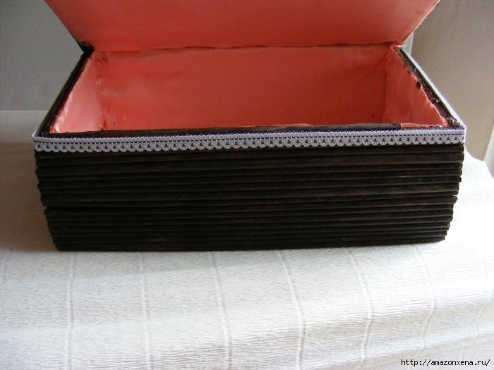 Декорирование обувной коробки газетными трубочками. Мастер-класс (16) (700x525, 254Kb)