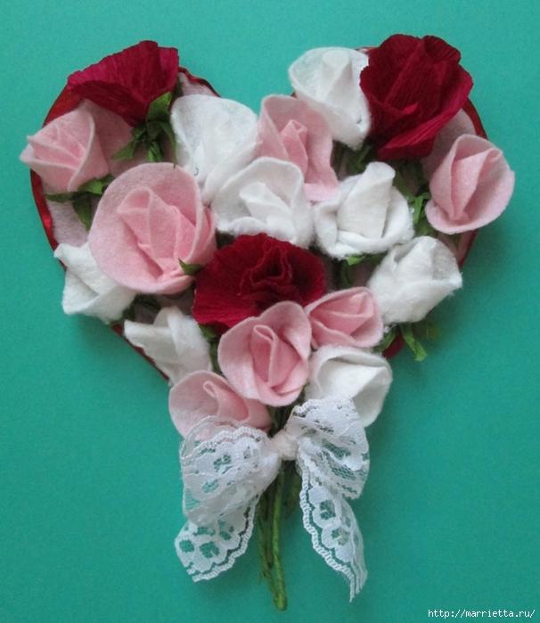 Розочки из вискозных салфеток. Цветочное панно - валентинка (29) (606x700, 278Kb)