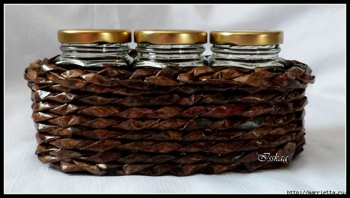 плетение из газет. корзиночки для баночек с джемом (4) (700x395, 207Kb)
