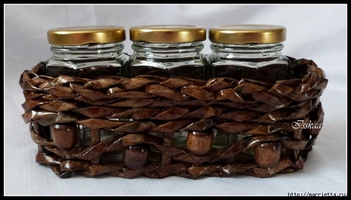 плетение из газет. корзиночки для баночек с джемом (6) (700x399, 201Kb)