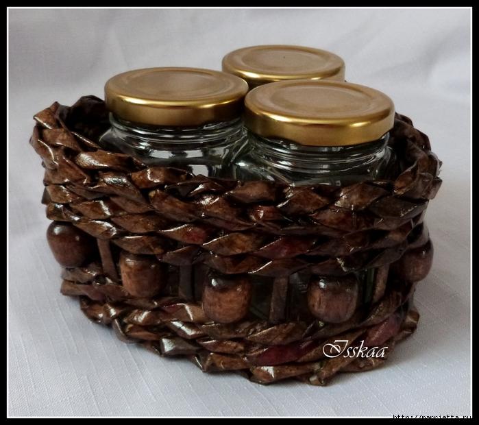 плетение из газет. корзиночки для баночек с джемом (8) (700x620, 303Kb)
