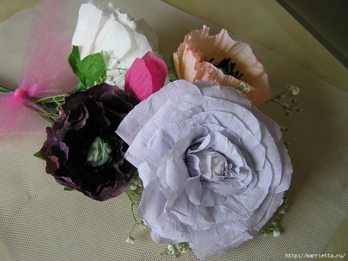 Букет цветов из гофрированной бумаги. Розы, пион и мак (1) (700x523, 316Kb)