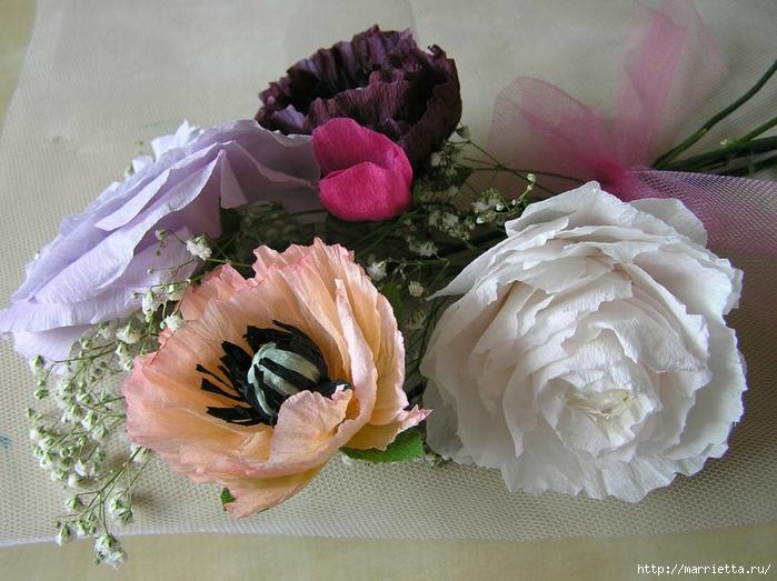 Букет цветов из гофрированной бумаги. Розы, пион и мак (3) (700x523, 308Kb)