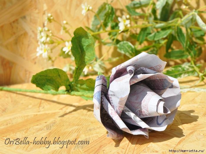 Как сложить розу для денежного букета. Оригами из купюр. Мастер-класс (22) (700x525, 254Kb)