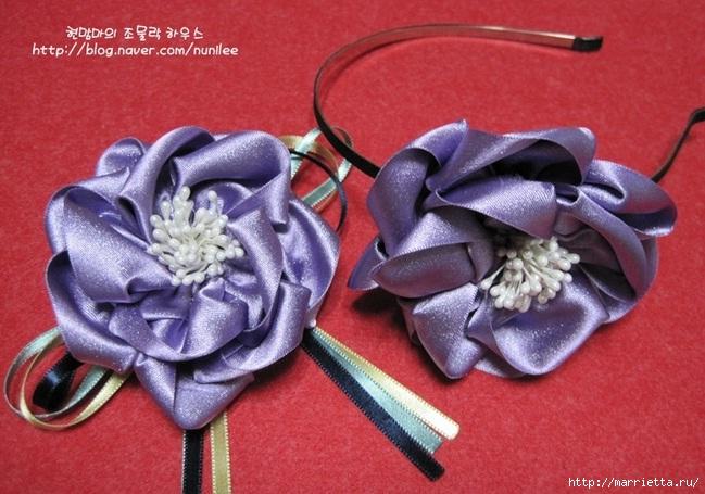 Украшения своими руками. Стильные цветы из атласных лент (1) (649x455, 206Kb)