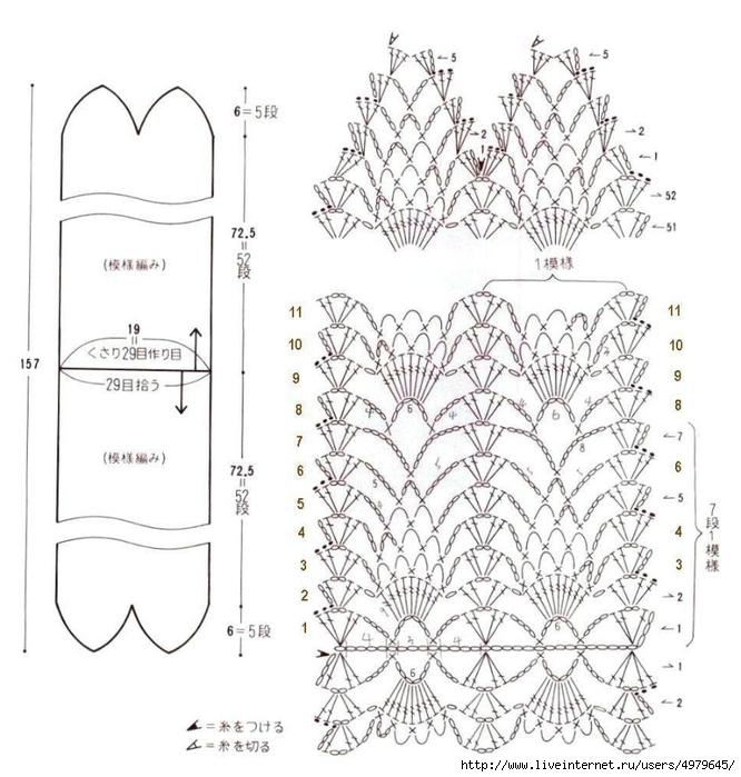 Рисунки вязания крючком шарфа
