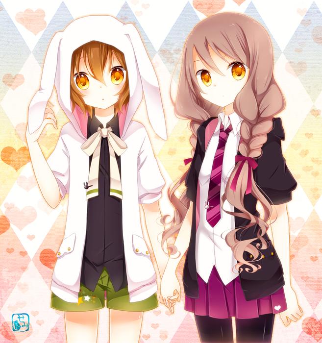 картинки аниме девушка и парень держатся за руки