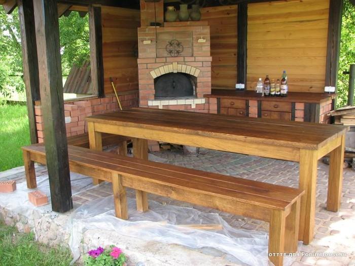 Стол деревянный для беседки