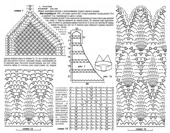 Вязание сарафан платья крючком и схемы