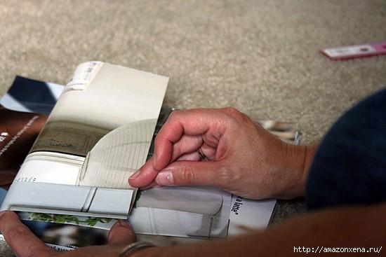 Как сделать сумочку для подарка из журнальных страниц (3) (550x367, 97Kb)