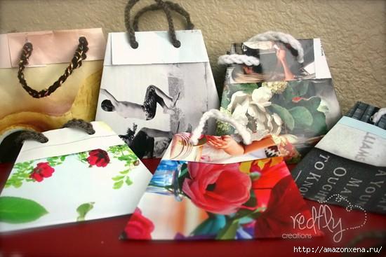 Как сделать сумочку для подарка из журнальных страниц (17) (550x367, 125Kb)