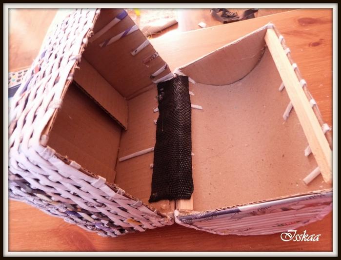Сундучок из коробки, оплетание газетными трубочками. Мастер-класс (11) (700x533, 250Kb)