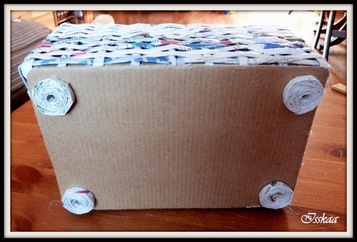 Сундучок из коробки, оплетание газетными трубочками. Мастер-класс (16) (700x474, 226Kb)