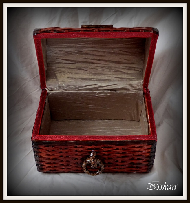 Сундучок из коробки, оплетание газетными трубочками. Мастер-класс (20) (656x700, 260Kb)