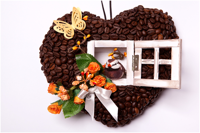 Кофейное сердце - домик для птички. Мастер-класс (2) (700x468, 302Kb)