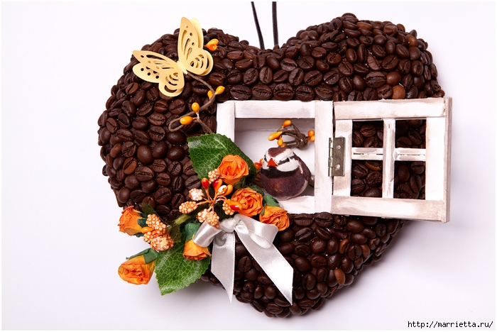 Кофейное сердце - домик для птички. Мастер-класс (1) (700x468, 249Kb)