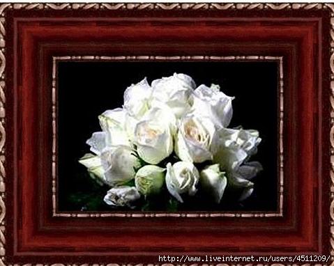 Букет белых роз. Вышивка