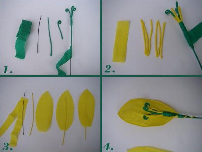 Желтые тюльпаны из креповой бумаги. Фото мастер-класс (1) (696x525, 67Kb)