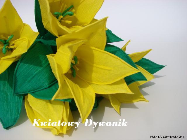 Желтые тюльпаны из креповой бумаги. Фото мастер-класс (6) (640x480, 108Kb)
