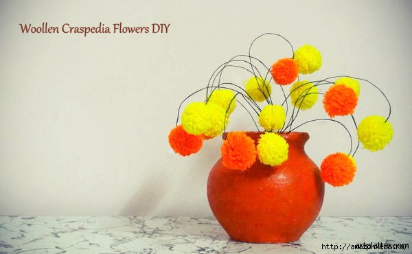 Цветы из помпонов для создания цветочной композиции (8) (600x370, 80Kb)