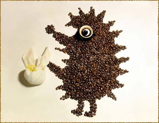 кофейных коллаж животные