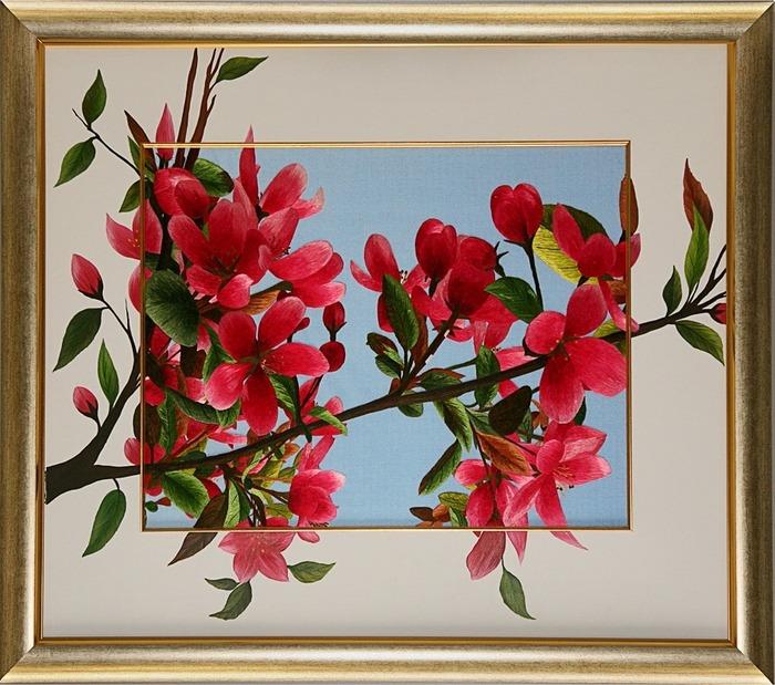 """Шелковая картина  """"Цветущая ветка сакуры """" (с подрисовкой) ."""