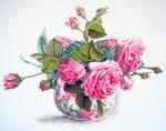Авторский Розы в чашке вышивка(4) .