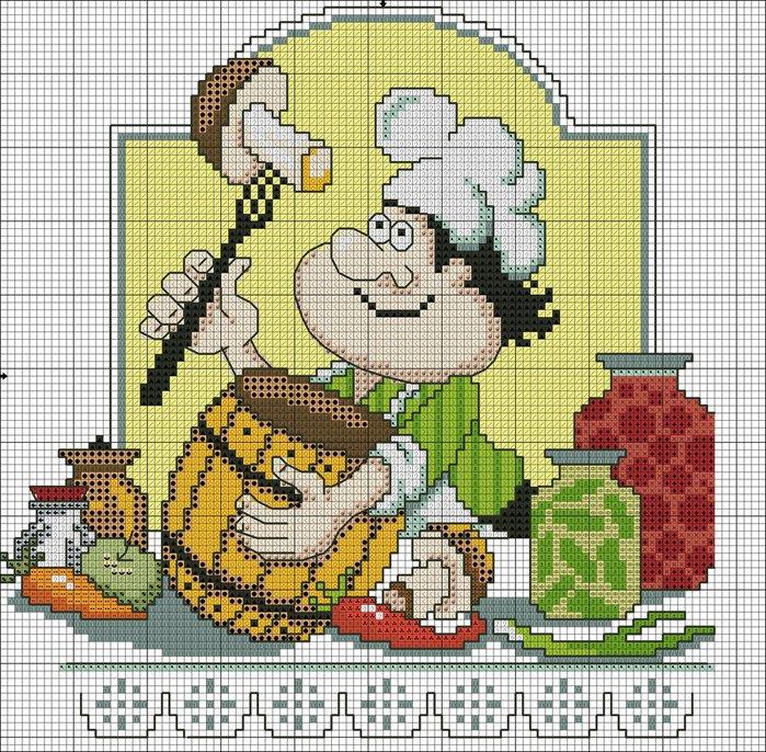 """Предпросмотр схемы вышивки  """"Веселый повар """".  Веселый повар, кухня, повар, салфетка."""