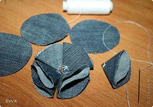Цветы из джинсовой ткани своими руками мастер класс схемы