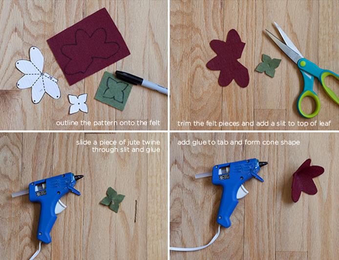 Клубничка и цветы из войлока для украшения подарка. Мастер-класс и шаблон (4) (694x534, 896Kb)