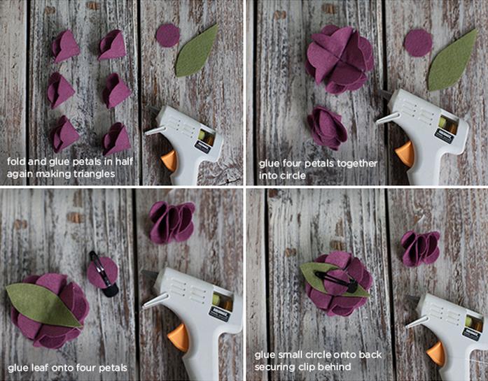 Клубничка и цветы из войлока для украшения подарка. Мастер-класс и шаблон (9) (697x545, 954Kb)