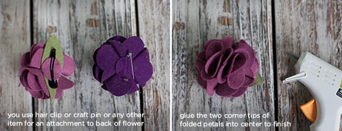 Клубничка и цветы из войлока для украшения подарка. Мастер-класс и шаблон (11) (695x268, 464Kb)