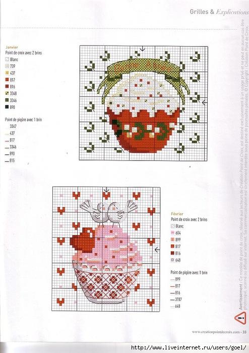 Схема вышивки пирожное