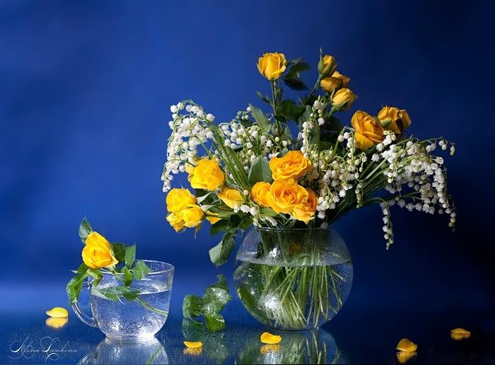 натюрморт ланд и розы желт (700x516, 105Kb)