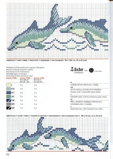 Дельфины на банном полотенце. Вышивка крестиком (4) (366x512, 151Kb)