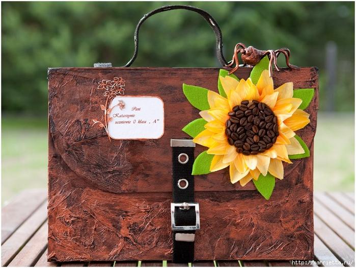 Портфель из картона с подсолнухом и паучком. Подарок для учителя своими руками (1) (700x525, 330Kb)