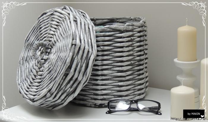 Мастер-класс по плетению из газет. КРУГЛАЯ КОРЗИНКА и идеи для вдохновения (33) (700x413, 208Kb)