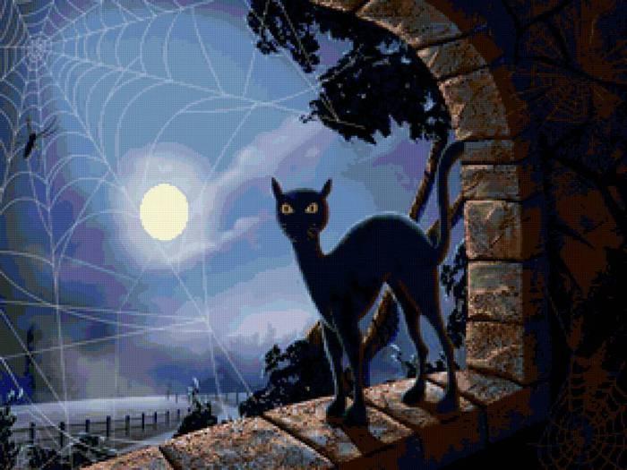 Кошка и луна (500 325, 52Kb)