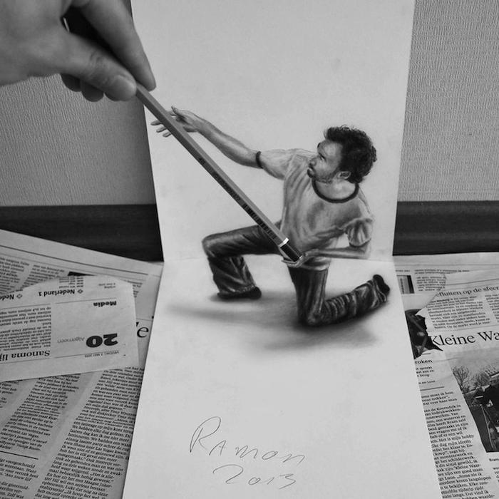 трехмерные рисунки простым карандашом  Ramon Bruin (700x700, 254Kb)