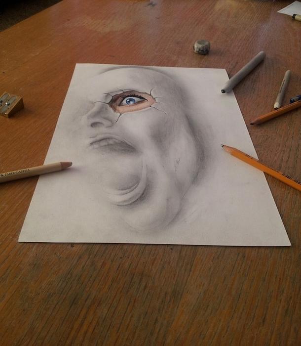 трехмерные рисунки простым карандашом  Ramon Bruin 2 (610x700, 247Kb)