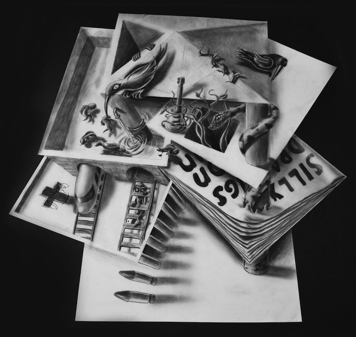 трехмерные рисунки простым карандашом  Ramon Bruin 6 (700x662, 209Kb)