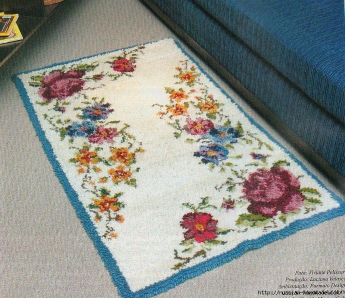 Коврики своими руками в технике ковровой вышивки. СХЕМЫ (12) (690x596, 444Kb)
