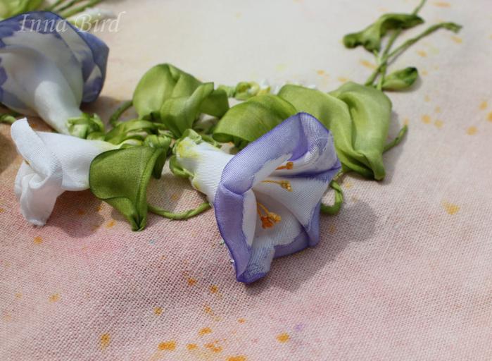 Вышивка лентами вьюнка