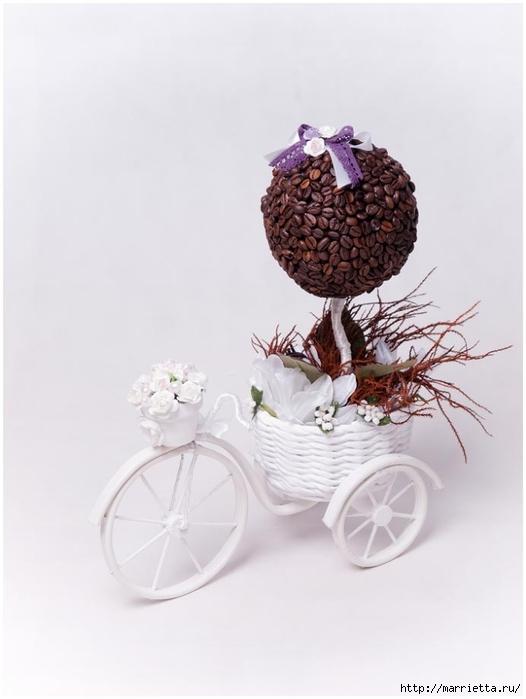 Велосипед из проволоки с кофейным топиарием и корзинкой из газет. Мастер-класс (38) (526x700, 135Kb)