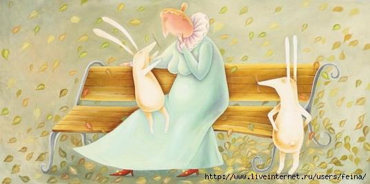 Осень с двумя зайцами (537x267, 94Kb)
