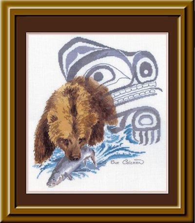 """JPG.  Буклет вышивки крестом  """"Coleman - Bear Fishing """".  Схемы по картинам известной канадской художницы Sue Coleman."""