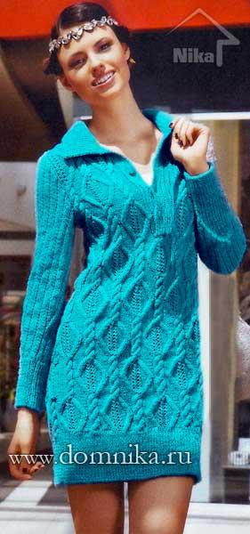 Вязаное платье с ромбами и