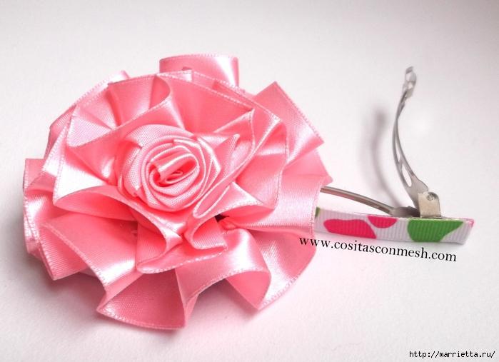Цветочек из атласной ленты для украшения ободка. Мастер-класс (12) (700x507, 221Kb)